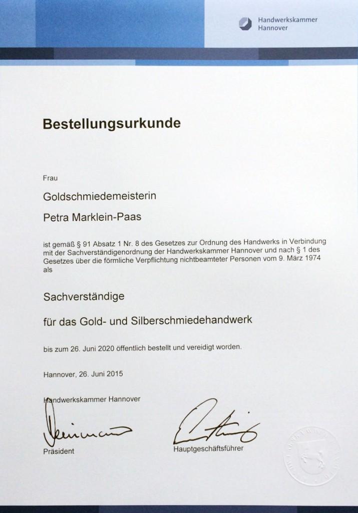 Bestellungsurkunde Goldschmiedemeisterin Petra Marklein-Paas